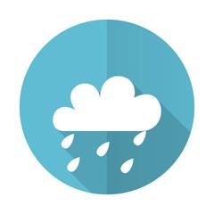 rain blue flat icon waether forecast sign