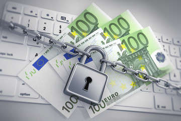 100 Euroscheine auf Keyboard mit Schloß