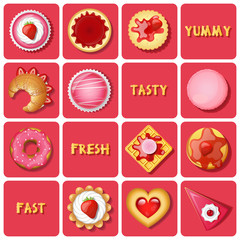 illustration of dessert and baked goods