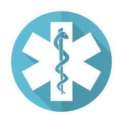emergency blue flat icon hospital sign