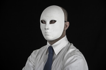 businessman in suit wearing mask, business power