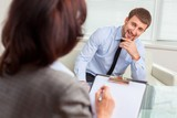Counseling. Female psychologist consulting mature man during