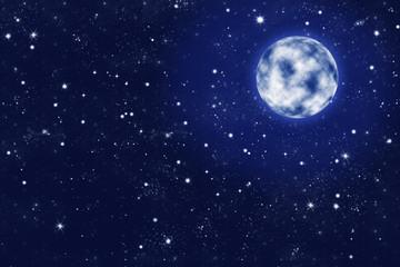 leuchtender Vollmond an klarem Sternen Himmel, Hintergrund