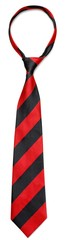 Accessory. Red and White Striped Tie Isolated on White