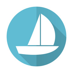 yacht blue flat icon sail sign