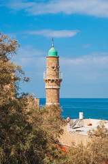 Minaret of  Mosque of Al Bahr in ancient Jaffa in Tel Aviv
