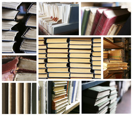 Many different compositions with books in collage