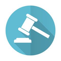 auction blue flat icon court sign verdict symbol