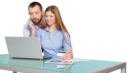 Buy. Portrait Of Happy Couple Shopping Online Using Laptop And