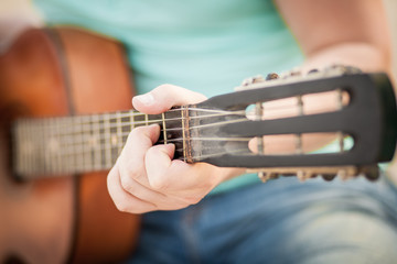 guitar, hand, string