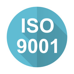 iso 9001 blue flat icon