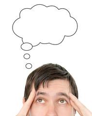 Idea cloud above thinking man's head