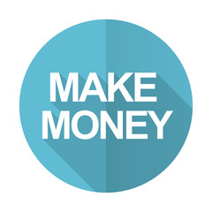 make money blue flat icon