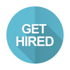 get hired blue flat icon