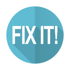 fix it blue flat icon