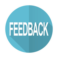 feedback blue flat icon