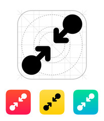 Pinch gesture abstract icon.
