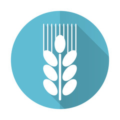 grain blue flat icon agriculture sign