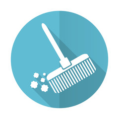 broom blue flat icon clean sign