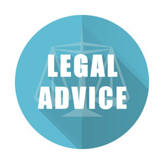 legal advice blue flat icon law sign