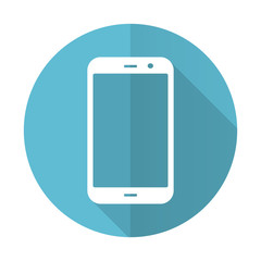 smartphone blue flat icon phone sign