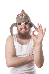 bearded man in swimming goggles and hat