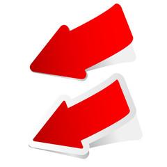 arrow sticker in red vector illustration