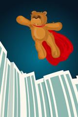 Illustration of Super Hero brown Bear