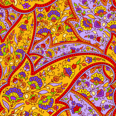 Seamless pattern of paisley.