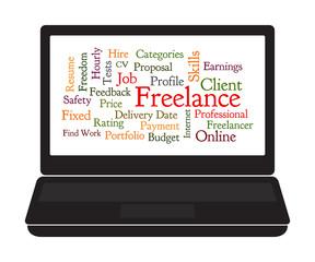 Freelance word cloud on laptop screen