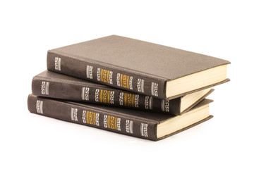three books isolated on white background