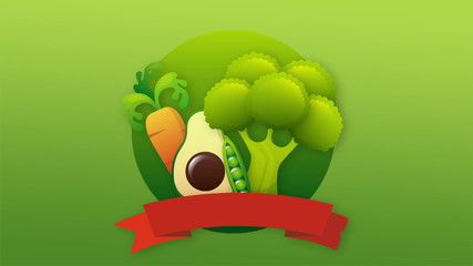 Carrot, avocado, brocolli label, Video animation, HD 1080