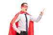 Angry superhero with mask and tie gesturing with his finger