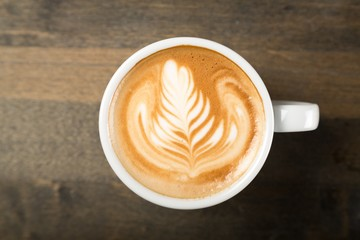 Like. Thumbs up or like symbol in coffee froth