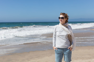 casual woman at the beach