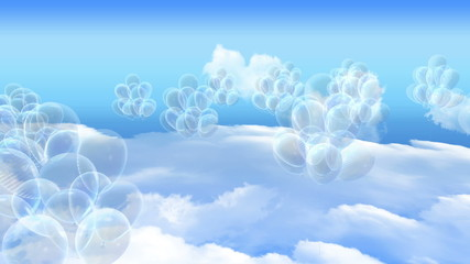 many Balloons flying over the white clouds and blue sky