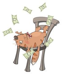 A business cat with money cartoon