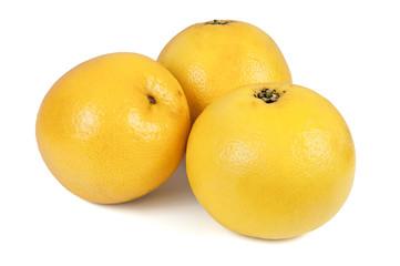 Three whole grapefruits on white background