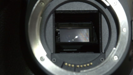 A camera lens opening the shutter