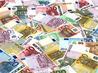 Euro bank notes background.