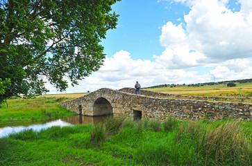 Peregrinos, puente romano, Camino de Santiago, España