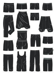 Silhouettes of women's shorts
