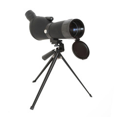Birdwatching monocular or spotting scope on a tripod.