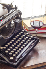 Vintage Typewriter Glass of Wine