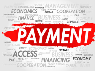 PAYMENT word cloud, business concept