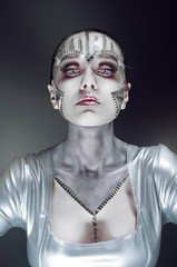 Conceptual beauty portrait with mirror shatters