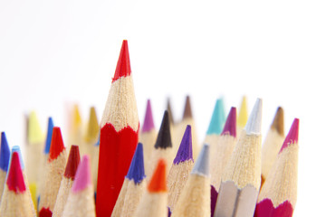 Pencils, one red one standing out