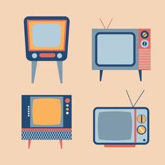 retro tv items set