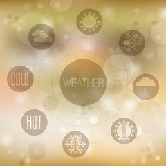 Set of flat design concept icons for weather on yellow blurred b