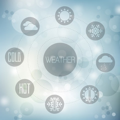Set of flat design concept icons for weather on blue blurred bac